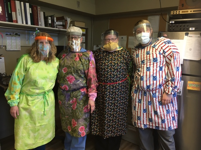 Hastings Veterans Home Nurses wearing donated protective gear